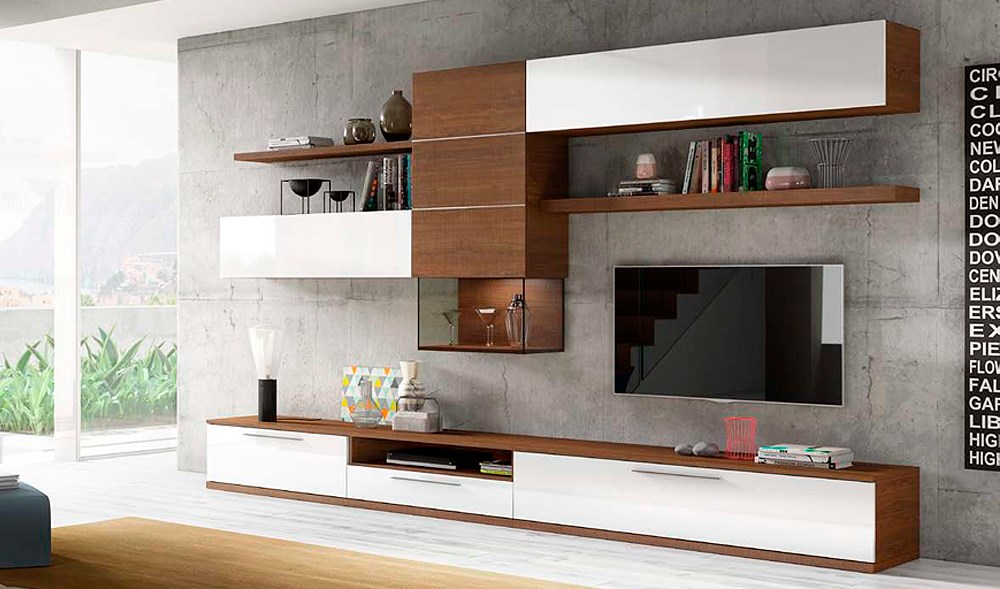 Salones modulares alto brillo for Salones modernos madrid